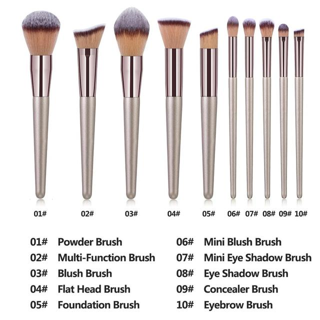 La Milee Champagne Makeup Brushes Set Foundation Powder Blush Eyeshadow Concealer Lip Eye Make Up Brush Cosmetics Beauty Tools 1