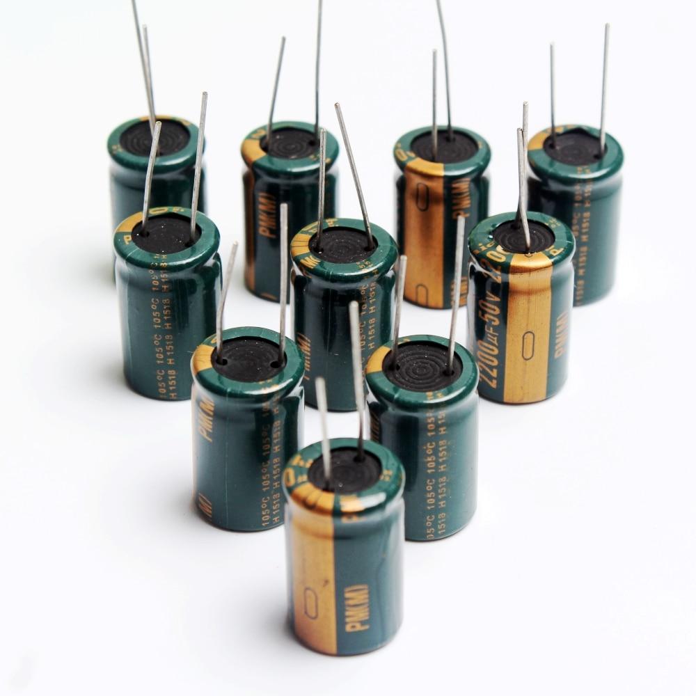 10PCS 2200uF 50V Electrolytic Capacitor 105°C 16x25mm
