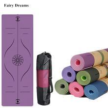 Esterilla de Yoga de dos colores TPE, 1830x610x6mm, con línea de posición, antideslizante, soporte ambiental para gimnasio en casa, inodoro