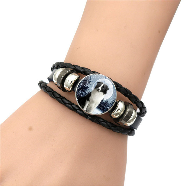 Casual Leather Dog Patterned Bracelet
