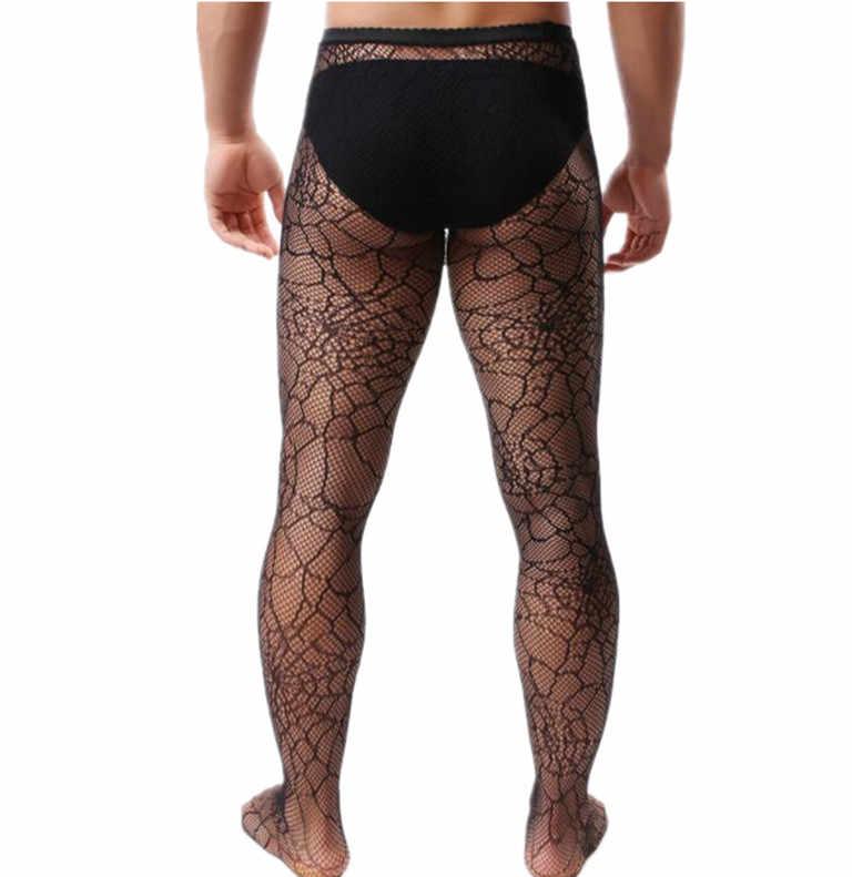 NEW Sexy Lingerie Fishnet Collants Masculino Malha Meia-calça Moda Dos Homens do Dia Das Bruxas Para Adultos Gay Fetish Aranha Homem Vestuário Exótico
