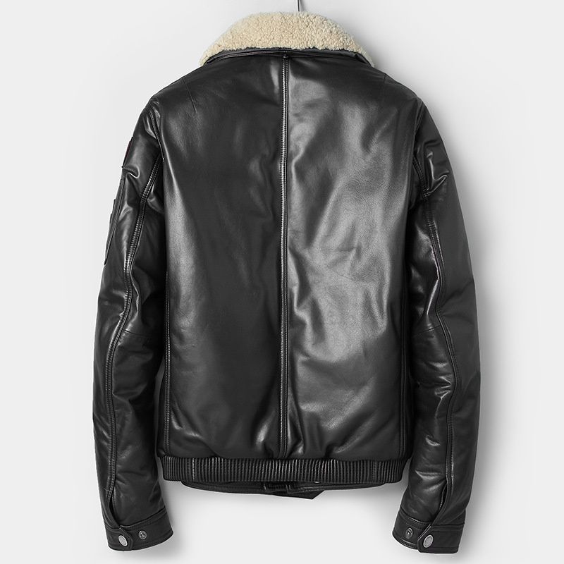 Genuine Leather Jacket Men Autumn Winter Sheepskin Fashion Jacket Casual Duck Down Coat Veste Cuir Homme 81C7166 YY296