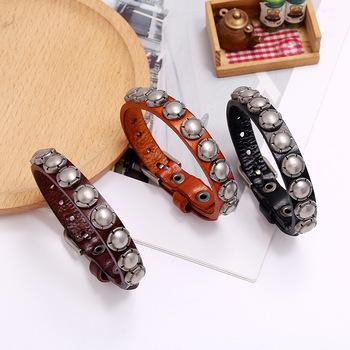 Modne modne bransoletki z prawdziwej skóry mężczyzn w stylu Vintage Punk regulowana opaska bransoletki i Bangles kobiety biżuteria tanie i dobre opinie Tuhai Wrap bransoletki Mężczyźni Ze stopu miedzi Moda TRENDY Skóra NONE GEOMETRIC P01954 Brak