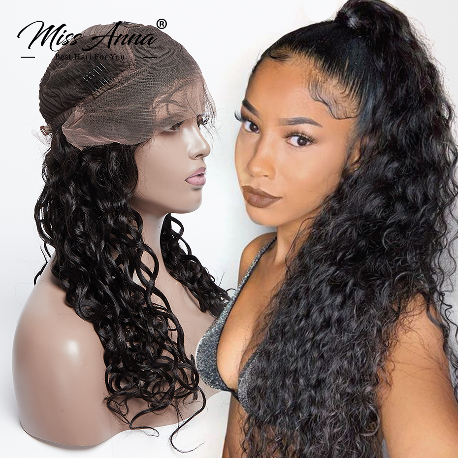 MissAnna 13x6 Lace Front Human High Hair Wigs Brazilian Remy Hair Natural Wave Pre Plucked With Baby Hair