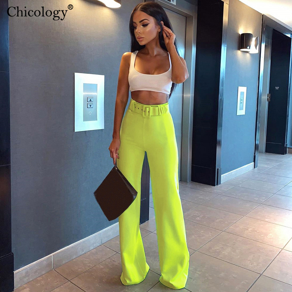 Chicology Wide Leg Belt Buckle Pants High Waist Fashion Bottom 2019 Summer Female Sexy Women Streetwear Trousers Lady Clothing