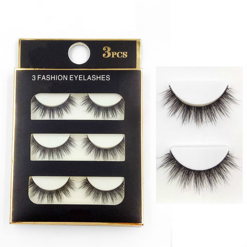 3 Pairs New Handmade Cross False Eyelashes Beauty Makeup Thick Voluminous Messy Fake Eye Lashes Extension Tools
