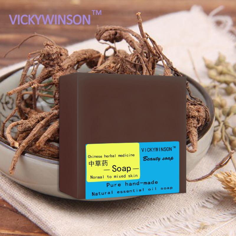 VICKYWINSON Chinese Herbal Medicine Handmade Soap 100g Anti-inflammatory Acne Remove Blackheads Allergy Pure Natural Soaps