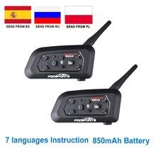 Fodsports V6 Pro Xe Máy Tai Nghe Bluetooth Liên Lạc Nội Bộ 6 Người Đi Không Dây 1200M Intercomunicador BT Interphone