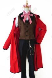 Anime preto mordomo morte shinigami grell sutcliff cosplay uniforme vermelho + óculos carnaval halloween trajes para mulher