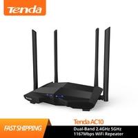 Router Wifi Tenda AC10 Dual-Band 2.4GHz 5GHz 1167Mbps ripetitore WiFi 128MB DDR3 1GHz CPU con 4 antenne Extender di rete