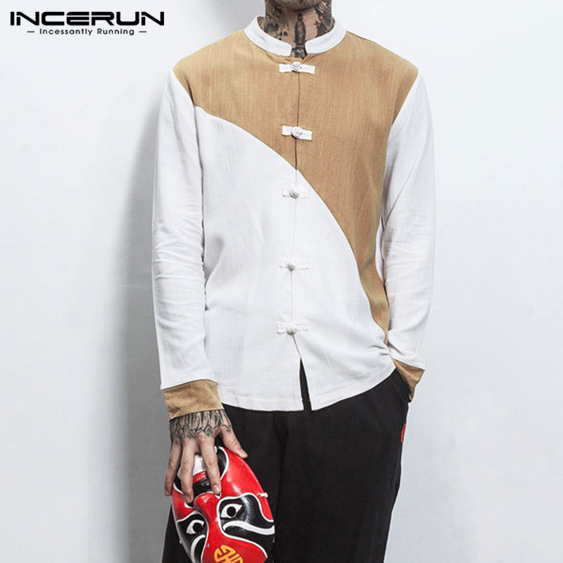 INCERUN Fashion Men Patchwork Long Sleeve Collar Casual Shirt Chinese Kung Fu Retro Buckle Comfort Cotton Linen Mens Blouse 3XL