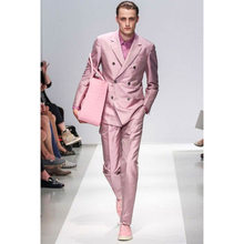 New Arrival Pink Wedding Men Suit 2Pieces(Jacket+Pant+Tie) Custom Made Double Breasted Groom Tuxedos(China)