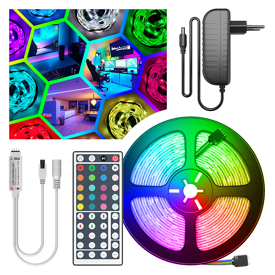 RGB LED Strip Light SMD2835 5050 5M 10M Waterproof Led Tape DC12V Ribbon Diode Led Lights Strip Lamp With IR Remote Controller