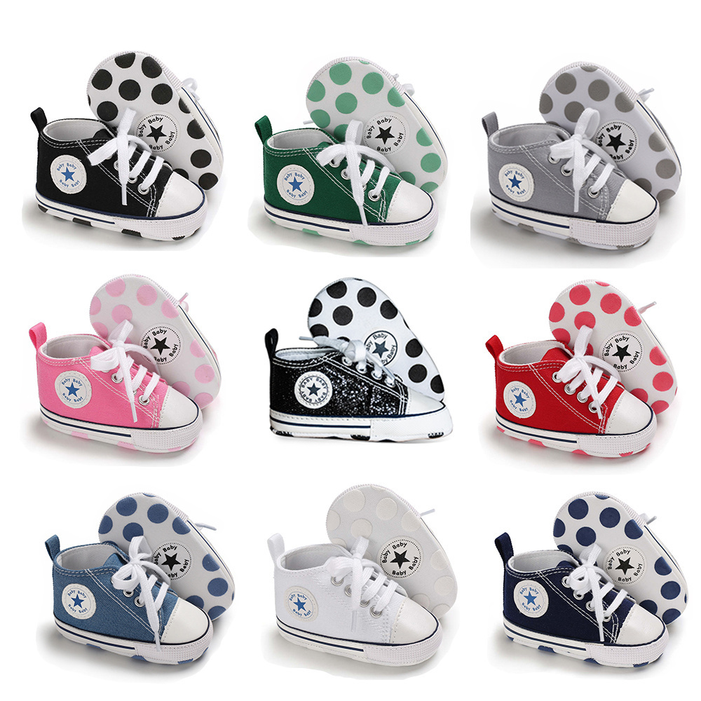 Newborn Boy Girl Shoes First Walkers Infant Baby Shoes White Soft Anti-Slip Sole Unisex Toddler Casual Canvas Crib Shoes 1