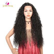 Synthetic Hair Lace Front Wig For Women Long Black  Heat Resistant 28 Inch