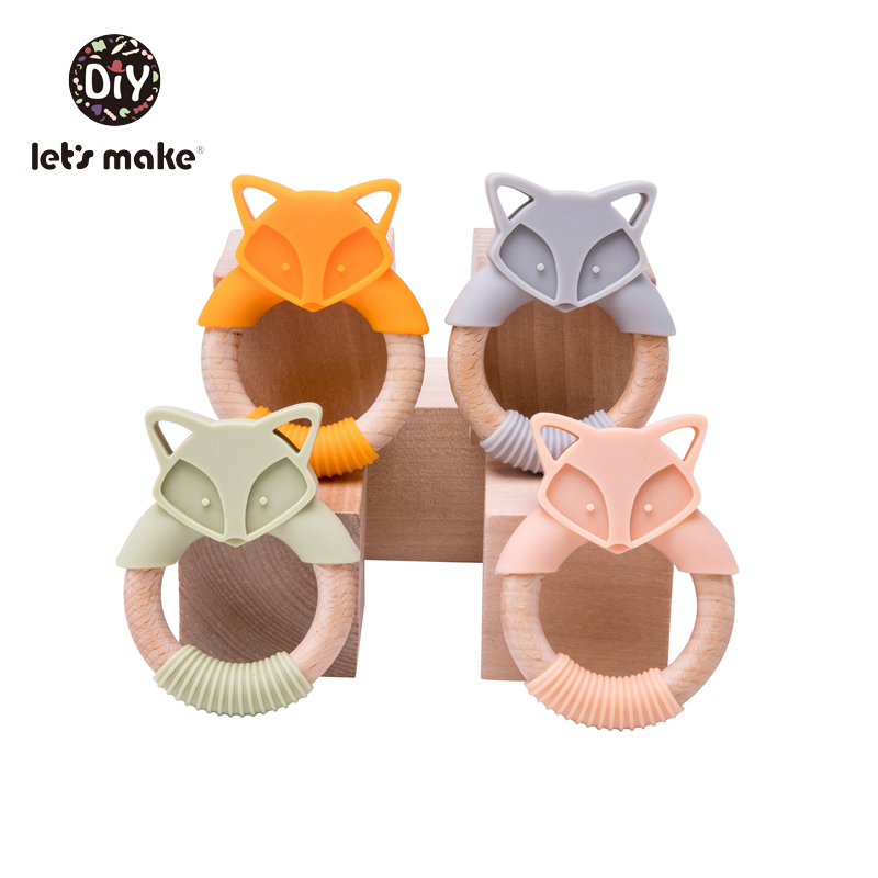 Let's Make Silicone Teethers Cartoon Beech Wood Fox Teething Wooden Ring DIY Baby Rattles Tiny Rod Christmas Gift Baby Teethers