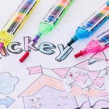 1pcs 20 색 왁스 크레용 크리 에이 티브 교육 오일 파스텔 키즈 컬러 낙서 펜 DIY 그림 그리기 펜 학교 용품