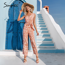 Printed Jumpsuit Simplee Elegant Summer Women Lace V-Neck Holiday-Style High-Waist Sleeveless