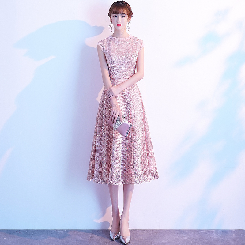 Pink Sleeveless Cocktail Dresses Tea Length Sequined Short Formal Party Gown 2020 Sexy A line robe coctail