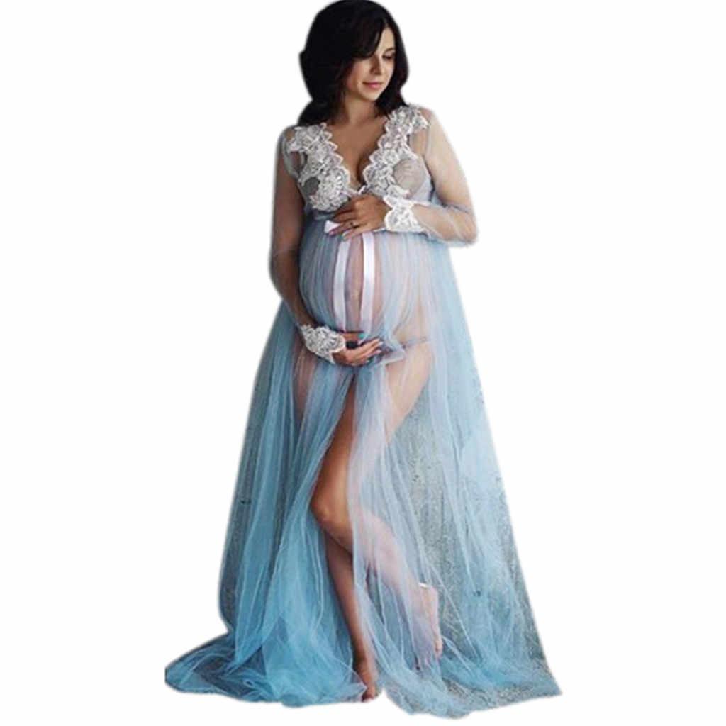 فستان حمل المرأة صافي الغزل الدانتيل الجبهة سبليت بذلة ممسحة أرضيات الصيف فستان ماكسي طويل الحمل