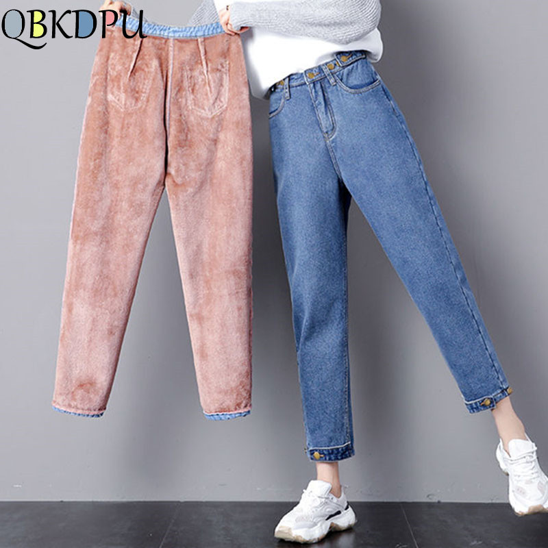 Loose High Waist Velvet Jeans 2019 Vintage Boyfriends Harem Winter Jeans Women Female Trousers Fleece Jeans Warm Mujer Snow Wear