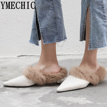 YMECHIC 2019 Fashion Genuine Real Leather Fur Mules Block Heel Sexy Shoes Pointed Toe Medium Heels Woman Shoes Pumps Spring