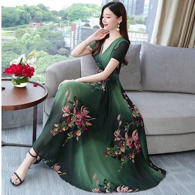 2020 Fruhling Neue Gedruckt Chiffon Blumen Mode Kleid Damen Lange Urlaub Strand Kleider Frauen Rot Blau Grun Kleidung Dresses Aliexpress