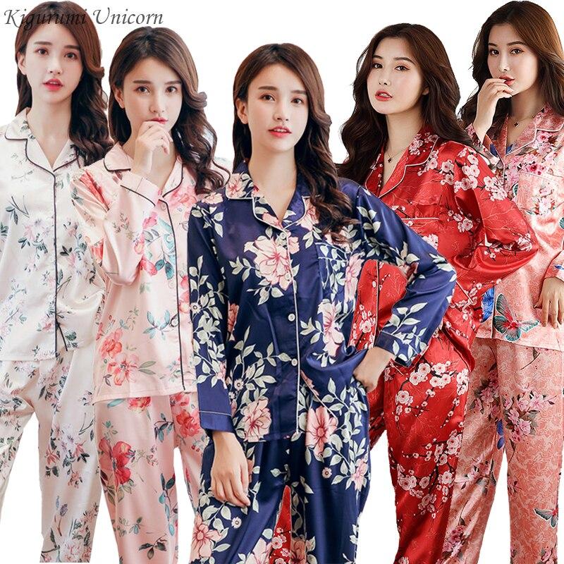 Pure Color Satins Silks Pyjamas Men Casual Pajamas Sets Men Spring Long Sleeve Pajama Simple Sleepwear Pijamas Mujer