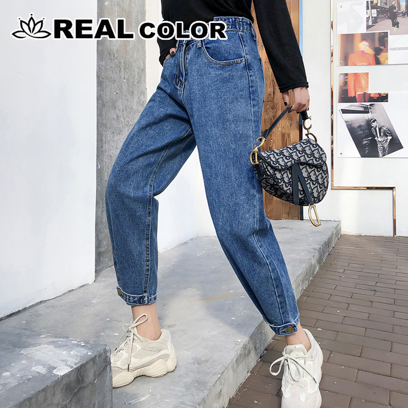 Boyfriend Jeans Pencil-Trousers Streetwear Pants-8 Blue Vintage Casual Denim Korean Women