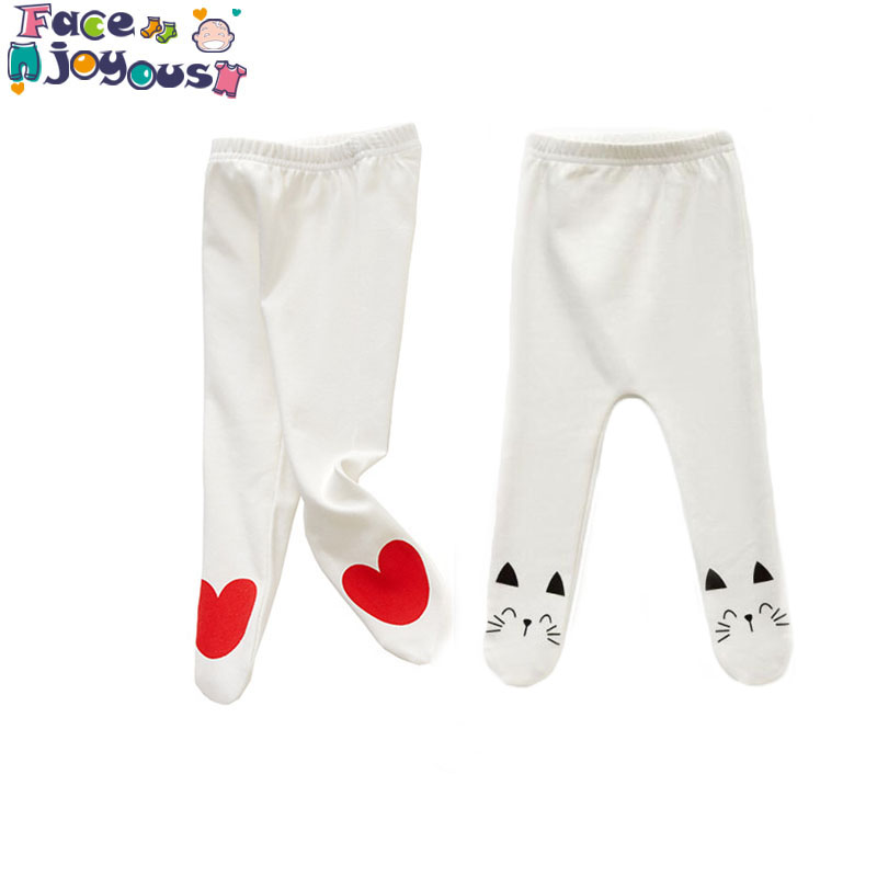 Newborn Unisex Baby Pants 0-24m Baby Cotton Mid Waist Trousers Infant Baby Boys Girls Bag Foot Pants Even Socks Baby Leggings