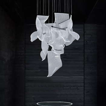 Modern Luxury LED Acrylic Chandelier Nordic Loft Living Room Art Thousand Paper Pendant Lamp Hotel Lobby Deco Lighting Luminarie