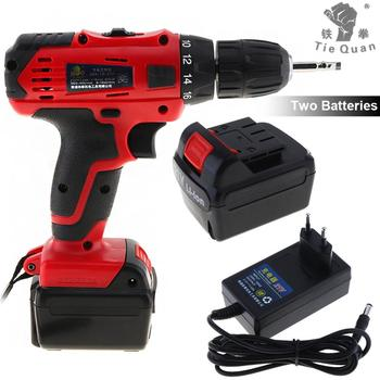 Electric Drill 100-240V Cordless 21V Electric Drill with 2 Lithium Batteries and Two-speed Adjustment Button for Handling Screws
