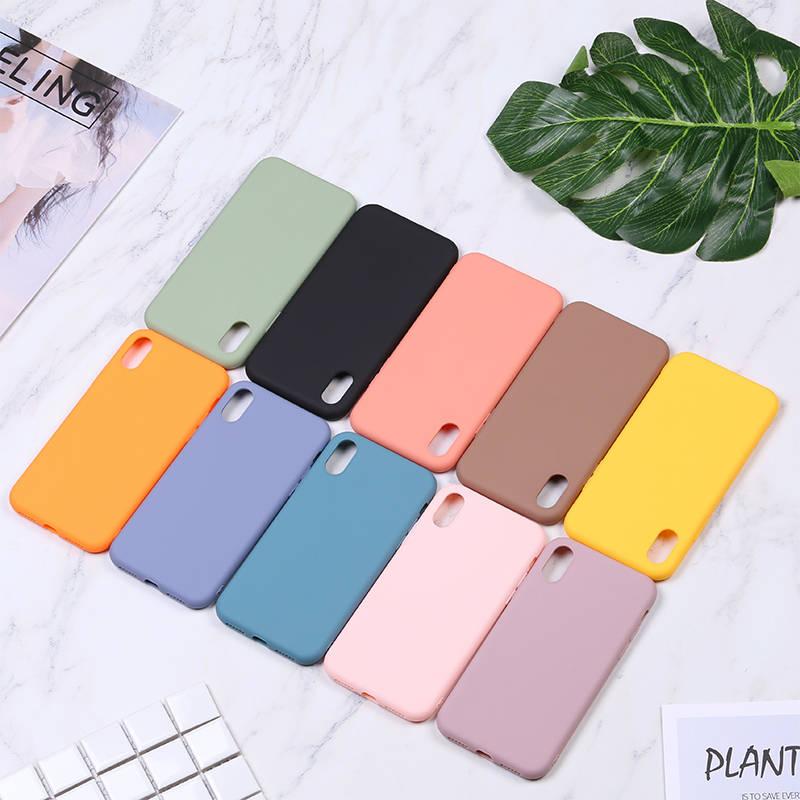 Чехол для телефона ярких цветов для iPhone 6, 6 S, 7, 8 Plus, X, XR, XS Max, матовый однотонный Мягкий Роскошный чехол из ТПУ для iPhone 11 Pro, розовый цвет