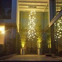 Scala moderna lampadario di cristallo lunga Villa corridoio catena apparecchio di illuminazione grande arredamento per la casa lampada in acciaio inossidabile Cristal