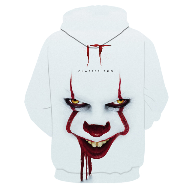 Fashion Women Men 3D Print Pennywise Clown Stephen King Casual Hoodie Sweatshirt