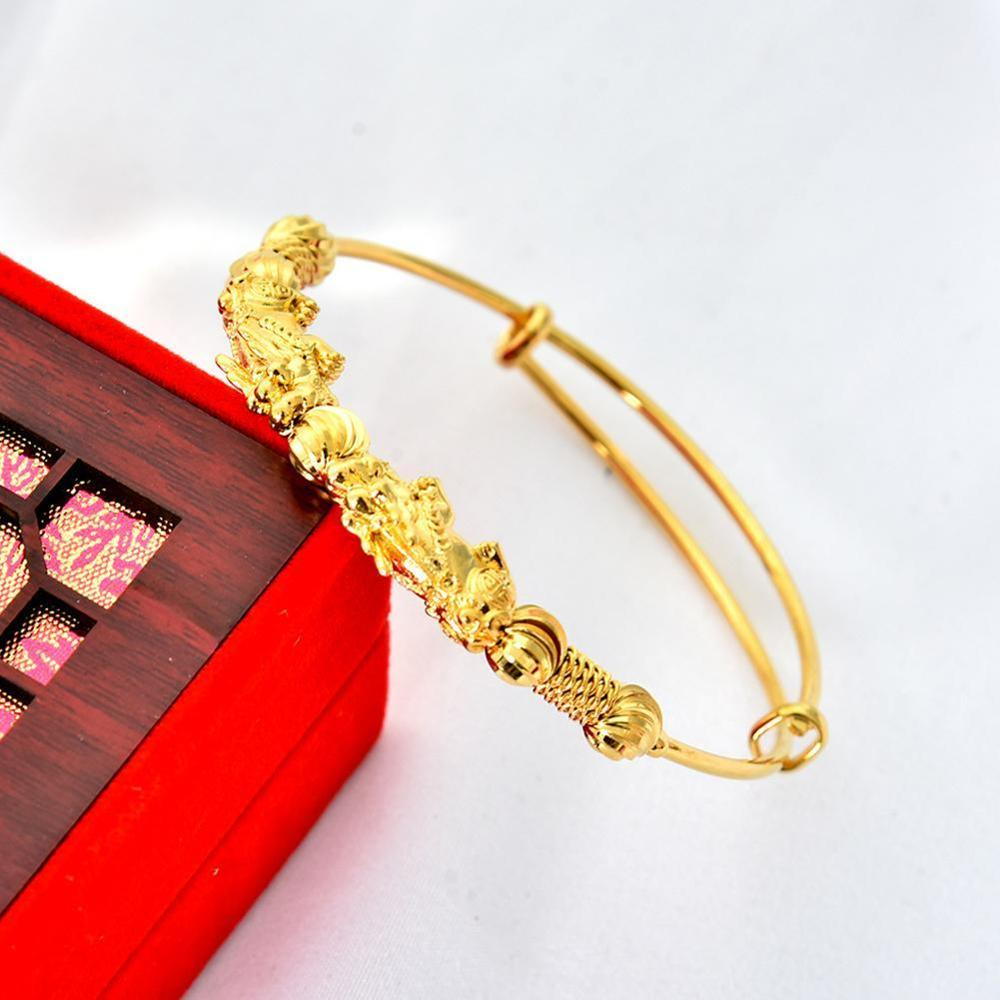 Pixiu push-pull bracelet Feng Shui Bracelet Men Women Unisex Wristband Gold Pixiu Wealth and Good Luck Women Bracelet