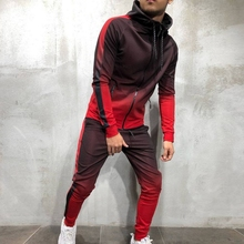 PUIMENTIUA  2 Pieces Zipper Tracksuit Men Set Sporting Sweatsuit Clothes Printed Hooded Hoodies Jacket Pants Track Gradual Sets