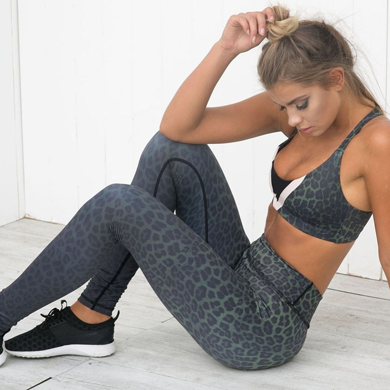 New Fashion Leopard Print   Leggings   Fitness High Waist Workout Gothic   Leggings   For Women Hip Push Up Gradient Color Sexy   Leggings