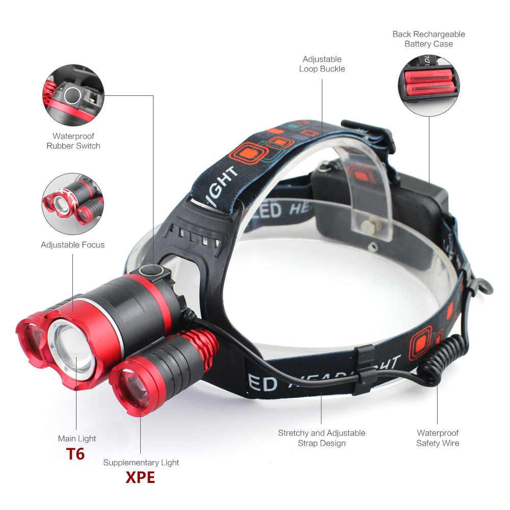 Litwod 2303rez90 xm-l t6 3 led farol luz lanterna cabeça lanterna recarregável zoomable 18650 bateria