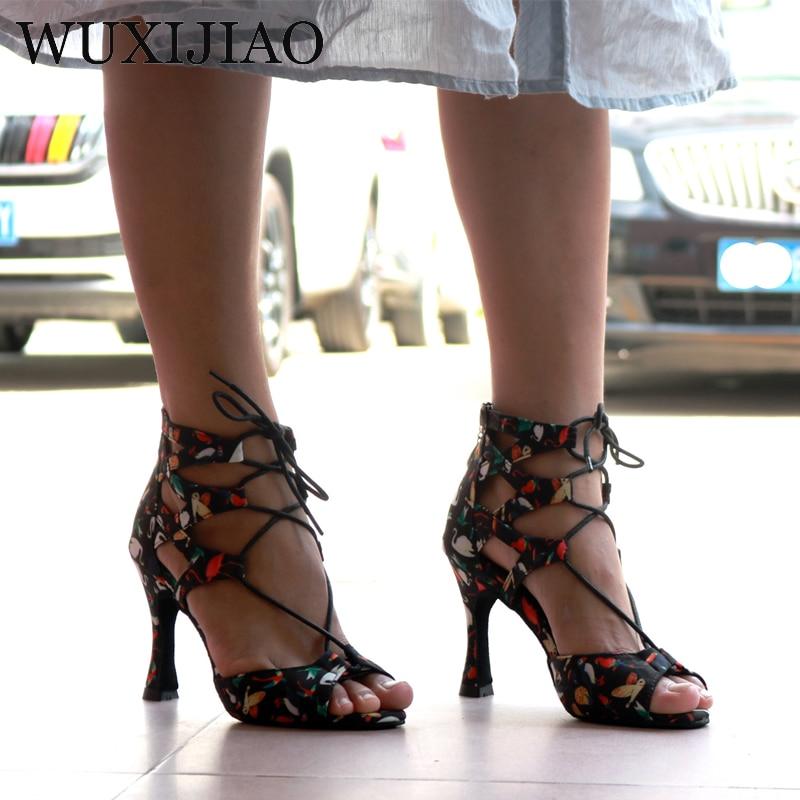 WUXIJIAO New Latin Dance Shoes Women's Salsa Ballroom Dance Shoes Design Unique Performance Dance Shoes