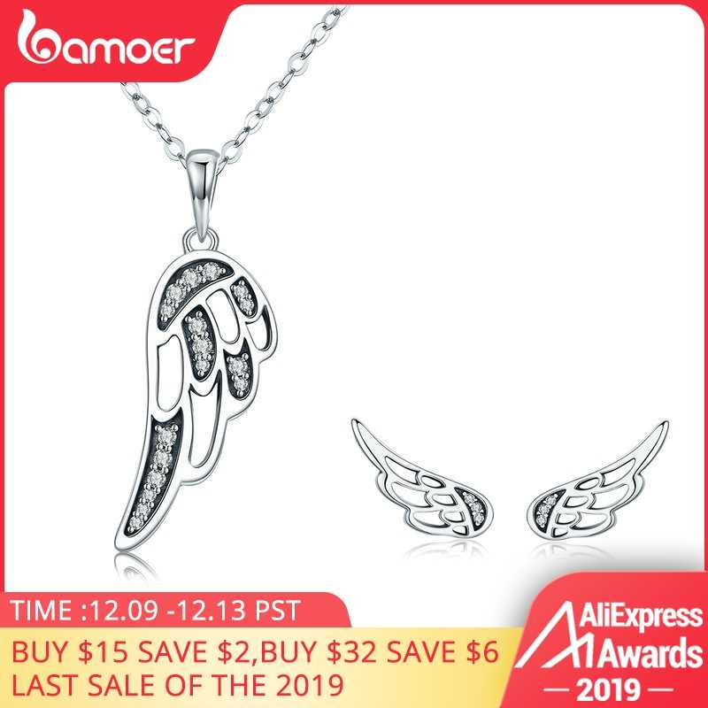 BAMOER authentique 100% 925 en argent Sterling fée ailes plume femmes collier boucles d'oreilles ensemble de bijoux authentique argent bijoux cadeau