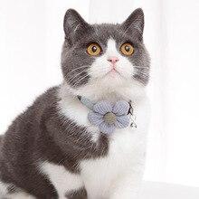 Cat Necklace Collars Break Away Cloth Flower-Bell Dog Kitten Adjustable Cute Bling