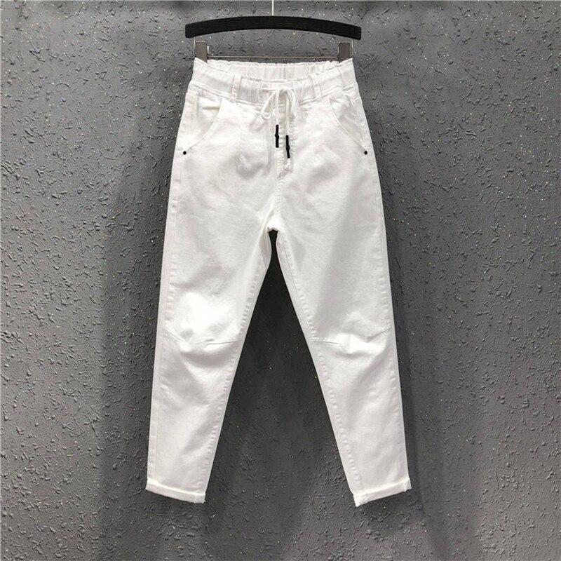 Spring Summer Women Cotton Denim Pants Plus Size Elastic Waist Loose Harem Pants Female Casual Ankle-length White   Jeans   D317