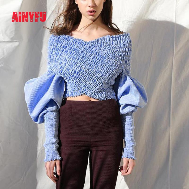 Ainyfu Fall V hals Solid Lange Bubble Mouw T shirt Vrouwen Streetwear Slanke Korte Kleding Femme Vouw Off Shoulder Crop dames Tops