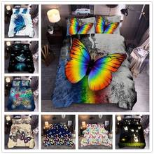 Colorful 3d Butterfly Animal Bedding, Quilt Cover, Pillowcase, 3-Piece Set