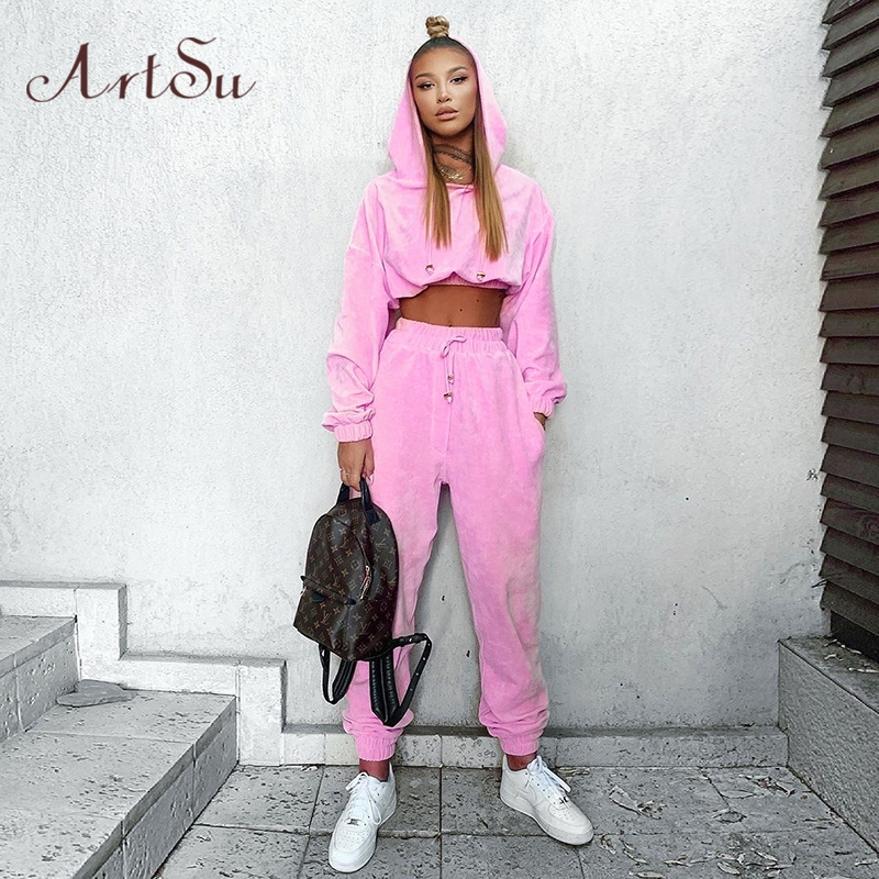 Artsu Flannel 2 Two Piece Set Sport Suit Pink Fleece Crop Top Hoodies Sweat Pants Women Matching Sets Clothing Outfit ASSU70116