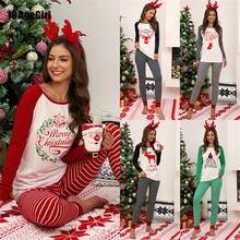 Пижамные комплекты 2020 рождественские Модные Новые осенне зимние