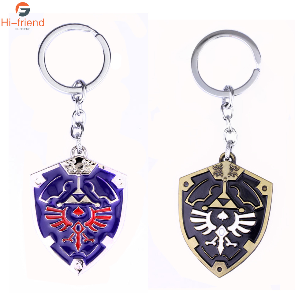 Anime The Legend of Zelda Shield Pendant Necklace Keychain Keyring 7pcs in Box