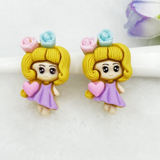 10pcs Hand painted Unique resin Lovely princess Flat Back Figurine DIY Wedding Scrapbook Decor Home Craft Accessories D47 4