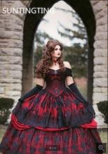 Винтажное Черное Красное Бальное Платье, Свадебное платье, готическое платье с открытыми плечами и кружевной аппликацией, свадебные платья 2020